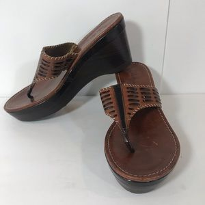Cole Haan Brown Leather Wedge Sandals